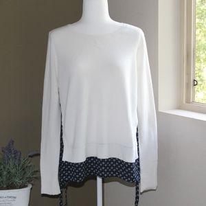 Loft White/Navy Blue Mixed Split Side Sweater